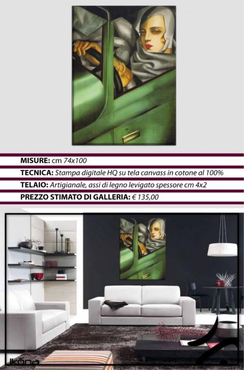 Quadro moderno arredo casa tamara de lempicka autoritratto for Quadri arredo salotto